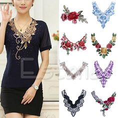 1PC Lace Embroidered Floral Neckline Sewing Applique