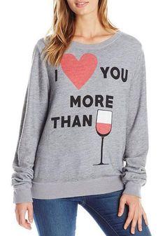 Stylish Round Collar Long Sleeve Heart and Glass Print Sweatshirt I love you more than wine!