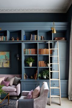 Grade I Regency Townhouse Designed by Sims Hilditch Interiors and Architecture 6 Home Library Rooms, Home Library Design, Home Libraries, Home Office Design, Home Interior Design, House Design, Interior Architecture, Classical Interior Design, Library Wall