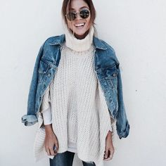 Denim jacket + thick cowl neck sweater + basic white tee + shades + jeans