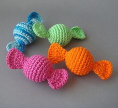 Amigurumi crocheted colorful candies(set of 4) [it is purchased pattern though