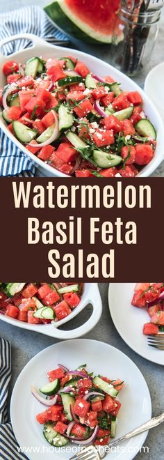 A summer potluck favorite, this fresh watermelon watermelon basil feta salad in a honey lime vinaigrette is a simple, refreshing summer side dish that is just the thing to serve with dinner on a hot August day. #farmersmarketweek #watermelon #basil #feta #salad #summer #sidedish
