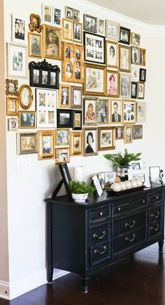 How to Hang an Ancestry Gallery Wall of Photos Display Family Photos, Old Family Photos, Hanging Family Photos, Family Picture Collages, Picture Walls, Inspiration Wand, Home Decor Inspiration, Decor Ideas, Gallery Wall Frames