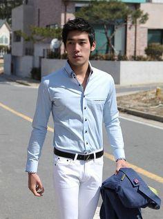 Men Fashion Double Neckline Design Slim Long Sleeve Blue Cotton Shirt M/L/XL@614-160-P45bl
