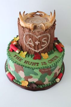 Grooms cake. Hunting themed cake. The hunt is over