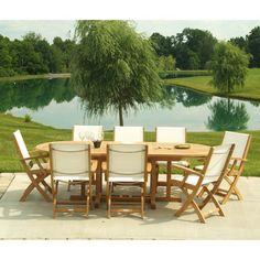 Outdoor Three Birds Riviera Teak Patio Dining Set - Seats 8 White - TB145-2
