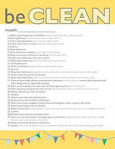 Monthly Cleaning printout. (Only 20 minutes to a cleaner house.) Do one thing each day.