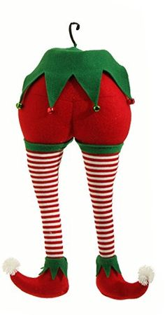 RAZ Imports - Peppermint Toy Christmas Elf Christmas Red and White Stripes Tree Ornament