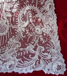 Maria Niforos - Fine Antique Lace, Linens & Textiles : Antique Lace # LA-27 Brussels Point De Gaze Shawl