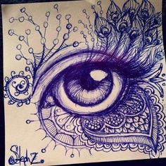 Cool art ideas eye drawing with cool designs ballpoint pen doodles Drawing Eyes, Drawing Sketches, Cool Drawings, Painting & Drawing, Drawing With Pen, Sketching, Pencil Drawings, Eye Sketch, Biro Drawing Simple