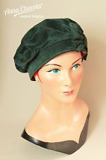 1930s 40s WW2 BERET HAT bottle GREEN velvet with BOW M/L Anna Chocola Brighton