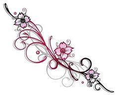 Vektor: Ranke, Kirschblüten, flora, Blumen, Blüten, cherry blossom