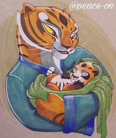 Tigress and her little Po the half tiger and half panda cub named after Po the Dragon Warrior