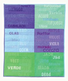 I discovered this relatively easy method for how to make a collage of words and fabric in the new book Vibrant Quilt Collage by Bethan Ash.  Type the words out on your computer, enlarge, reverse, and print out onto iron-on transfer paper.