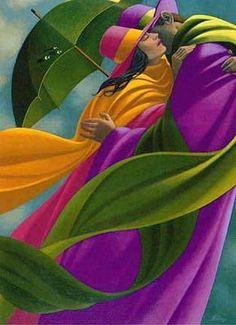 Inspiration and Crafts: Umbrellas Artist: Claude Theberge Modern Art, Contemporary Art, Umbrella Art, Singing In The Rain, Arte Pop, Canadian Artists, Black Art, Bunt, Amazing Art