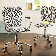 Airgo Zazu Zebra Arm + Armless Chair from PBteen. Saved to Furniture. Zebra Bedding, Teen Bedding, Home Office, Safari Bedroom, Zebra Chair, Teen Desk, White Desks, Pottery Barn Teen, Armless Chair