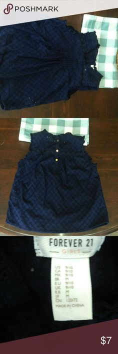 Forever 21 girls navy blouse Forever 21 girls eyelet blouse in Navy. Three little gold buttons for detail on back. Says 9-10 but it fit my daughter best while she was a 7-8. Forever 21 Shirts & Tops Blouses