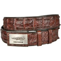 crocodile leather double row hornback belt
