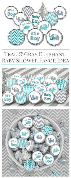 Teal Blue and Gray Elephant Baby Shower Favor Boy Stickers for Hershey Kisses in 9 different designs. #itsaboy #elephantbabyshower #babyshower #boybabyshower
