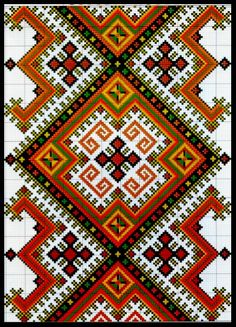 Pattern for the dress Beaded Cross Stitch, Cross Stitch Kits, Cross Stitch Charts, Cross Stitch Patterns, Folk Embroidery, Cross Stitch Embroidery, Embroidery Patterns, Loom Patterns, Beading Patterns