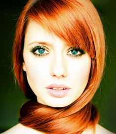 Makeup redhead eyes with brown