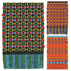 United Art and Education Art Project:  Use weaving strips, markers and yarn to make a Kente Cloth wall hanging!