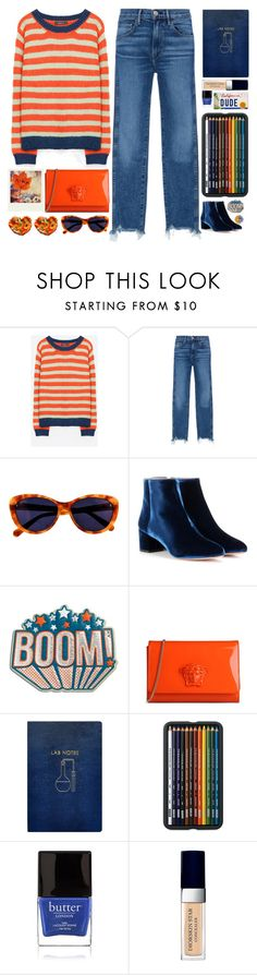"""""""Orange&Blue"""" by doga1 ❤ liked on Polyvore featuring 3x1, Taylor Morris, Aquazzura, Anya Hindmarch, Polaroid, Versace, Sloane Stationery, Butter London, Christian Dior and NOVICA"""
