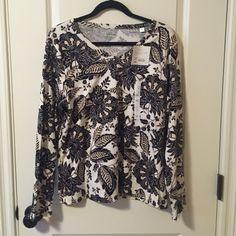 NWT! Long sleeve patterned top! Navy, black, and tan pattern top! Croft & Barrow Tops Tees - Long Sleeve