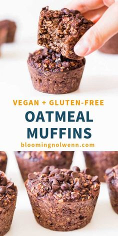 These Vegan Chocolate Oatmeal Muffins are gluten-free, oil-free, refined sugar-free and so good! Start your day the right way with healthy and delicious banana chocolate oat muffins! Banana Oatmeal Muffins, Vegan Oatmeal, Gluten Free Oatmeal, Oatmeal Pancakes, Vegan Muffins, Gluten Free Muffins, Healthy Muffins, Vegan Gluten Free Desserts, Vegan Snacks