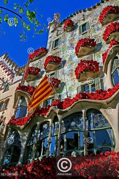 Floral decoration of the Casa Batllo in Sant Jordi, Barcelona, Spain