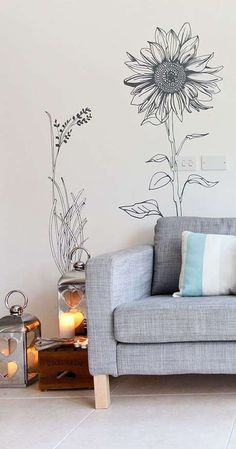 Wall Stickers www. Hand drawn flower pack wall stickers Spring Planting Tips Spring Bedroom Murals, Bedroom Wall, Wall Murals, Mural Art, Bedroom Sets, Wall Decal, Wall Painting Decor, Illustration Blume, Wall Drawing