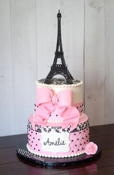 Paris Eiffel Tower Pink Quilted Fondant birthday cake by MMC Bakes San Diego, Chula Vista