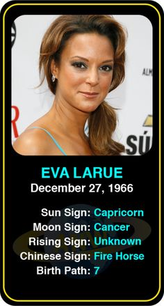 Celeb #Capricorn birthdays: Eva LaRue's astrology info! Sign up here to see more: https://www.astroconnects.com/galleries/celeb-birthday-gallery/capricorn?start=30 #astrology #horoscope #zodiac #birthchart #natalchart #evalarue