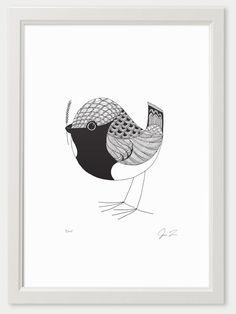Bird IX Print (A3) by Justin Landon