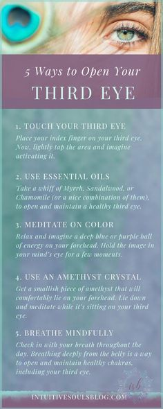 5 Ways to Open Your Third Eye An open and balanced third eye is important to develop clairvoyance. Yoga Kundalini, Chakra Meditation, Pranayama, Chakra Healing, Third Eye Meditation, Daily Meditation, Spiritual Guidance, Spiritual Practices, Spiritual Life