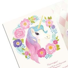 Watercolor Unicorn Girl's Party Invitation by PolinaKhoronko