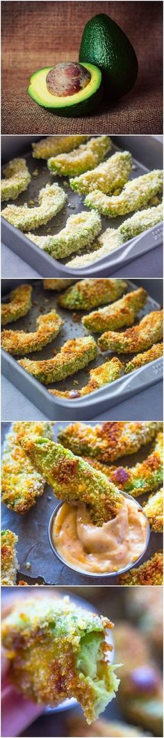 Crispy Baked Avocado Fries & Chipotle Dipping Sauce - an amazingly delicious, crunchy on the outside and creamy on the inside, delightful snack! for the gods recipe baking Crispy Baked Avocado Fries & Chipotle Dipping Sauce Avocado Recipes, Veggie Recipes, Appetizer Recipes, Vegetarian Recipes, Cooking Recipes, Healthy Recipes, Sauce Recipes, Avacado Appetizers, Prociutto Appetizers