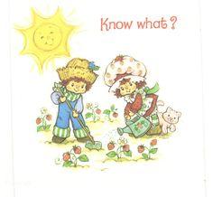 Vintage Kenner / American Greetings Strawberry Shortcake Greeting Card - Strawberry Shortcake & Huckleberry Pie Gardening Card