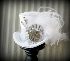 The White Rabbit in Pewter Mini Top Hat, Alice in Wonderland Mini Top Hat, Tea Party Hat, Steampunk Hat, Gear Hat, Mad Hatter Hat, Bridal  www.tablescapesbydesign.com https://www.facebook.com/pages/Tablescapes-By-Design/129811416695