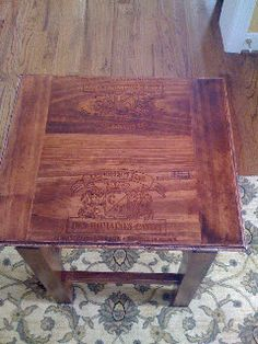 Lacquered cherry wood wine crate table