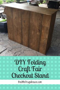See how I built a DIY Folding Craft Fair Checkout Stand with scrap wood and Vendor Displays, Craft Booth Displays, Display Ideas, Booth Ideas, Vendor Booth, Shop Displays, Merchandising Displays, Retail Displays, Display Stands