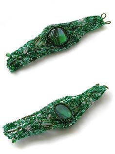 Green Freeform Bracelet with glass pebble  Green by Anabel27shop