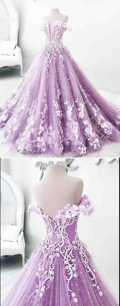 #BallGownPromDresses,Off-the-Shoulder Prom Dress,#LilacPromDresses,Appliques Prom Dress,#FloorLength Ball Gown Evening Dress DS489