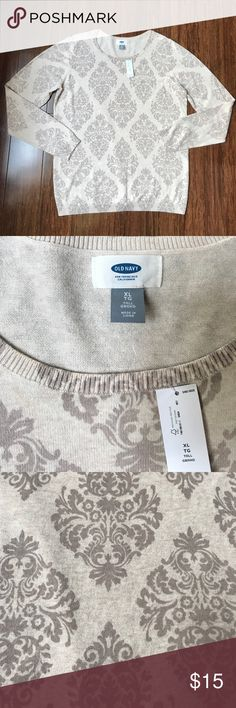 NWT Old Navy Crew Neck Sweater Old Navy Crew Neck Sweater. 28 inches long. 22 inches armpit to armpit. Snag under the left armpit at shown in pic above. 100% cotton. Old Navy Sweaters Crew & Scoop Necks