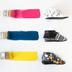 Paint Party Collection from Freshly Picked   Mondrian Modern Artist, Art Kid Style, 100% Genuine Leather Baby Shoes, Black and White Splatter, Black Plaid, Colorful Blocking Pattern