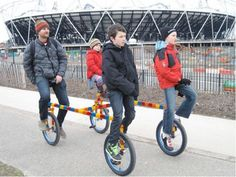 """Quad Unicycle has come up with an excellent solution for those who love to go for a family ride. With a motto- """"Cycle your way to your destination and ride the healthy way"""", the designer and artist, Gavin Turk and Ben Wilson, have lately come up with an Bicycle Art, Bike, Ben Wilson, Gavin Turk, Quad Exercises, Family Of Four, Unicycle, Green Tips, Workout"""