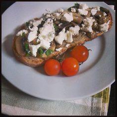 mushroom and feta toast