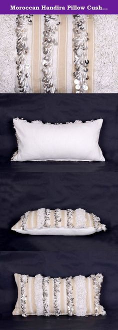 """Moroccan Handira Pillow Cushion Cover, Berber Handmade with Sequins, refashioned from a vintage Moroccan Wedding Blanket, hand crafted in Morocco's High Atlas Mountains, 23"""" x 12"""", CH265. ● CRAFTSMANSHIP - Our sumptuous luxe handmade pillow is refashioned from a vintage Moroccan Wedding Blanket, hand crafted by Berber women in Morocco's High Atlas Mountains. They are loomed from native wool and adorned with hundreds of sparkly sequins, individually hand sewn. This piece is utterly unique..."""