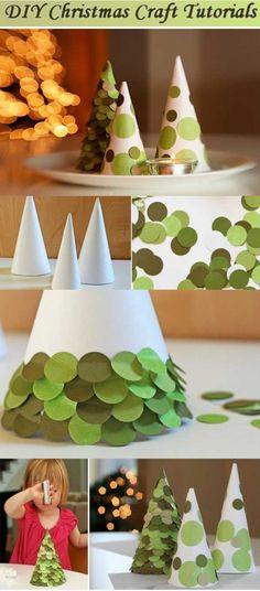 Diy sapins avec des pastilles en papier, un atelier facile à faire avec les enfants #Noel