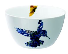 A yellow hummingbird flying on one side of the bowl and a blue one is in flight on the other. Designed by Peter Ting as part of Loveramics